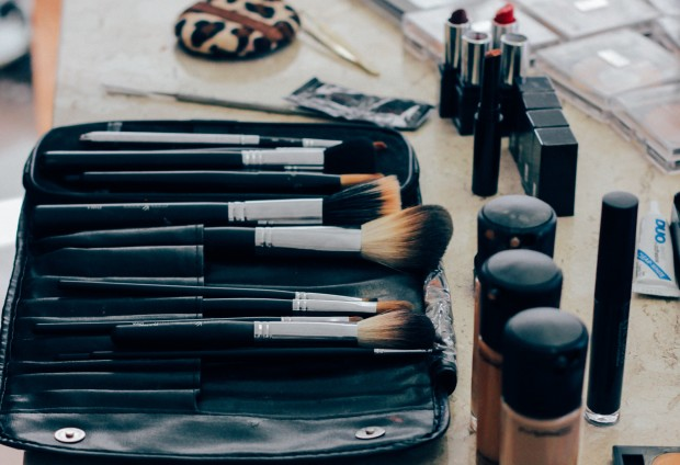 makeup brushes and products